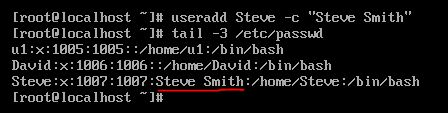 -c option with useradd command in linux?
