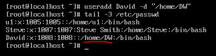 -d option with useradd command in linux?