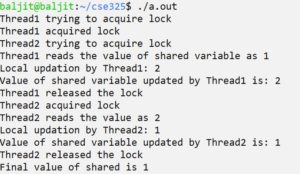 Process Synchronization using mutex locks