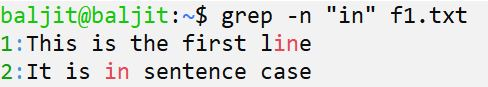 using -n option with grep command in Linux